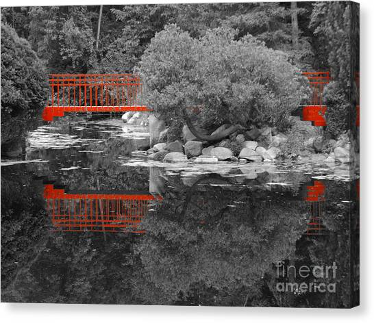 Red Bridge Black And White Canvas Print