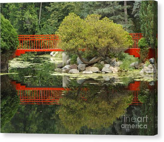 Red Bridge Close Reflection Canvas Print