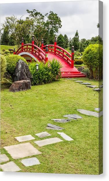 Red Bridge In A Japanese Garden Canvas Print