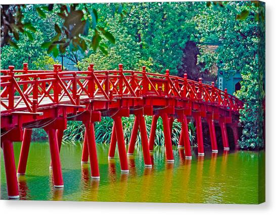 Red Bridge In Hanoi Vietnam Canvas Print