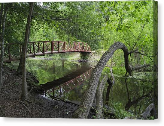 Red Bridge Over Peaceful Water Canvas Print