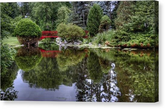 Red Bridge Reflection Canvas Print