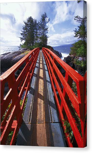 Red Bridge To Nowhere Canvas Print by Kim Lessel
