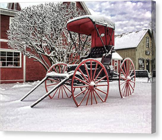 Red Buggy At Olmsted Falls - 1 Canvas Print
