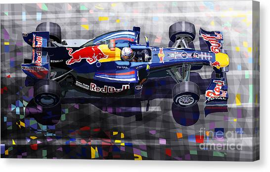 Sports Cars Canvas Print - Red Bull Rb6 Vettel 2010 by Yuriy Shevchuk