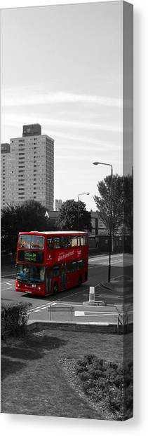 Canvas Print featuring the photograph Red Bus by Helene U Taylor