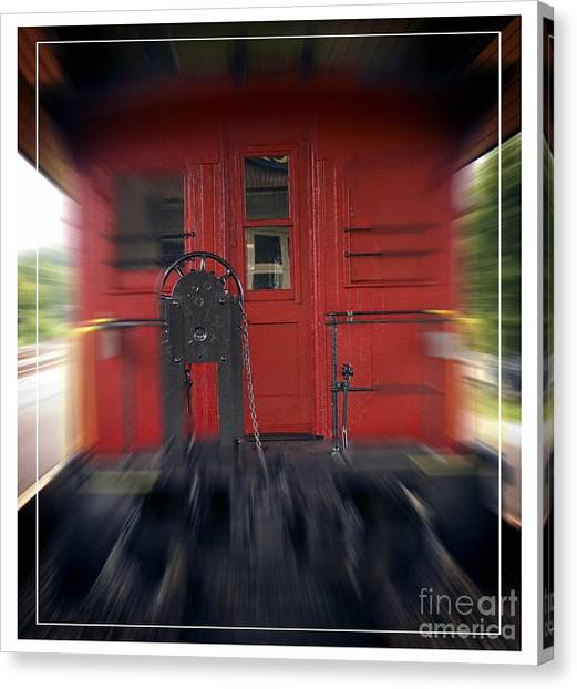Old Caboose Canvas Print - Red Caboose by Edward Fielding