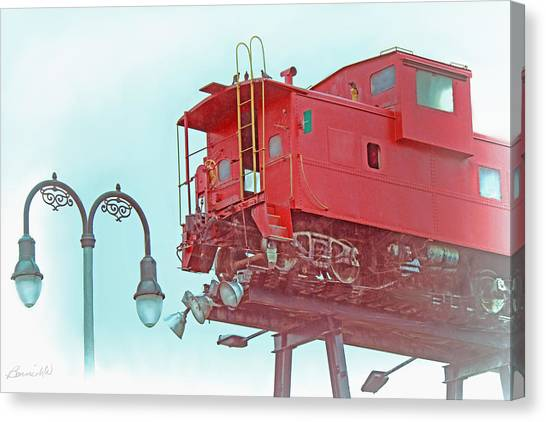 Red Caboose In The Sky2 Canvas Print