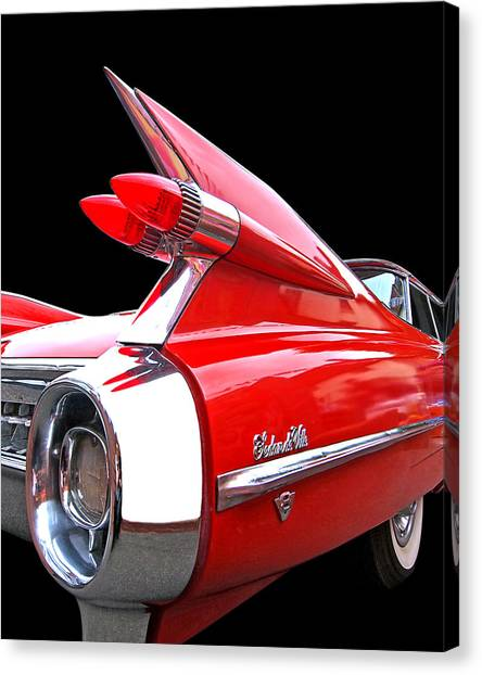 Red Cadillac Sedan De Ville 1959 Tail Fins Canvas Print