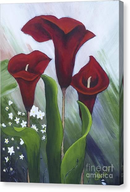 Red Calla Lilies Canvas Print