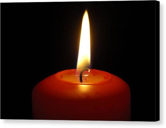 Red Candle Burning Canvas Print