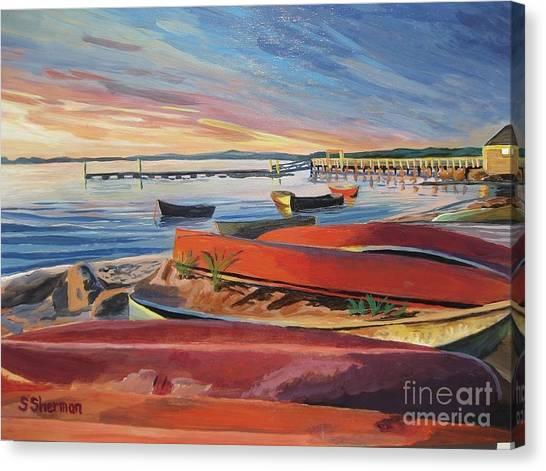 Red Canoe Sunset Canvas Print