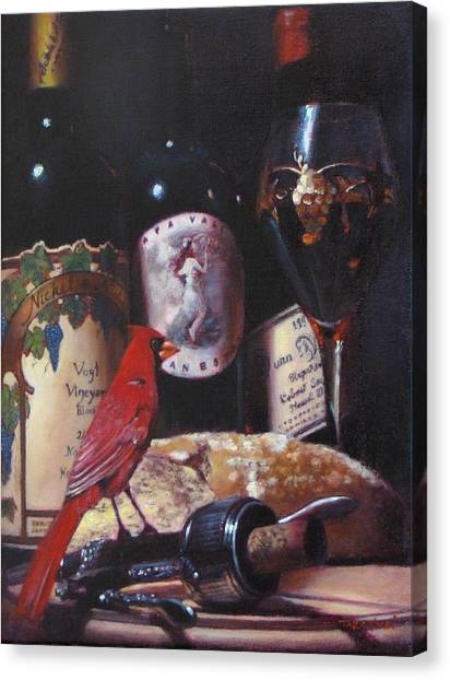 Red Cardinal Red Wine Sin Canvas Print by Takayuki Harada
