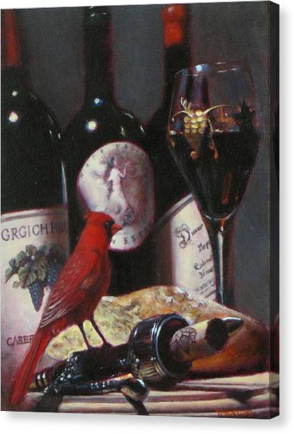 Red Cardinal With Red Wine 2 Canvas Print by Takayuki Harada