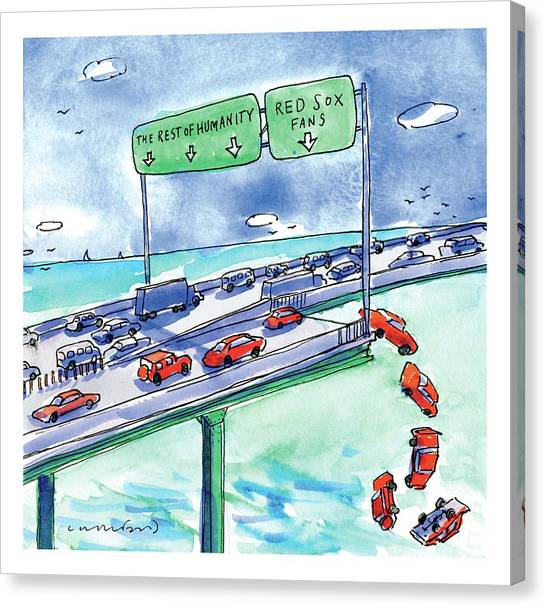 Highways Canvas Print - Red Cars Drop Off A Bridge Under A Sign That Says by Michael Crawford