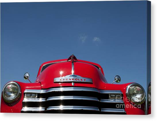 Front End Canvas Print - Red Chevrolet 3100 1953 Pickup  by Tim Gainey