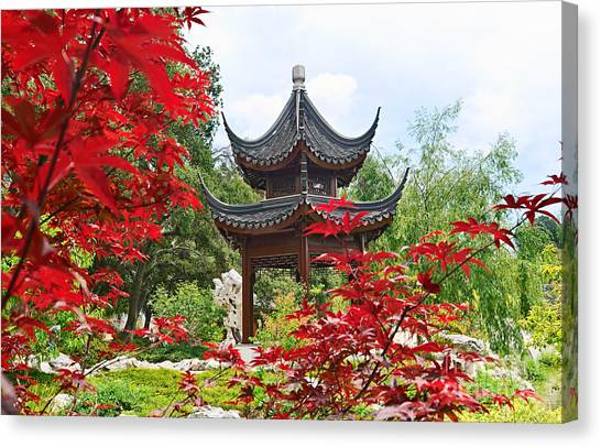 Japanese Gardens Canvas Print - Red - Chinese Garden With Pagoda And Lake. by Jamie Pham