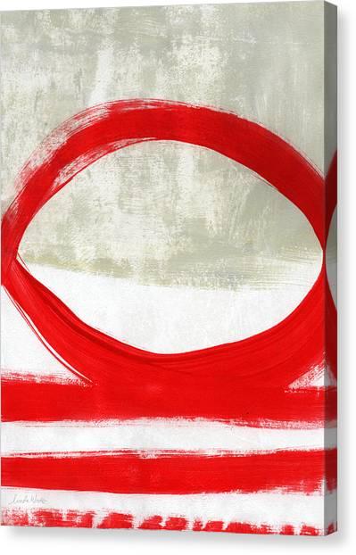 Circles Canvas Print - Red Circle 4- Abstract Painting by Linda Woods