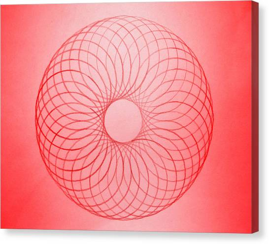 Protractors Canvas Print - Red Circle Abstract by Tom Druin