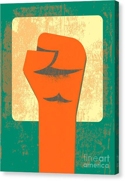 Blood Canvas Print - Red Clenched Fist Retro Poster by File404
