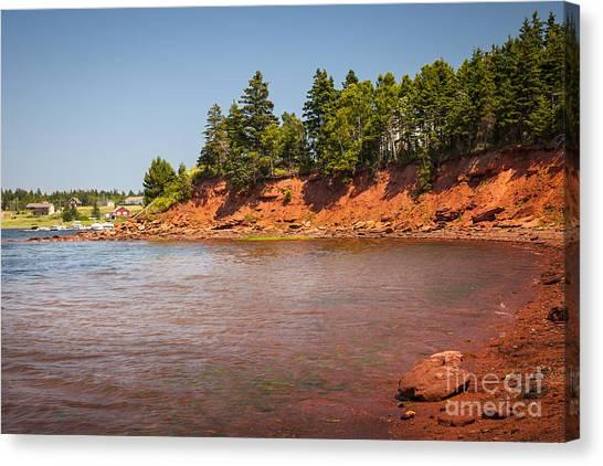 Ocean Cliffs Canvas Print - Red Cliffs Of Prince Edward Island by Elena Elisseeva