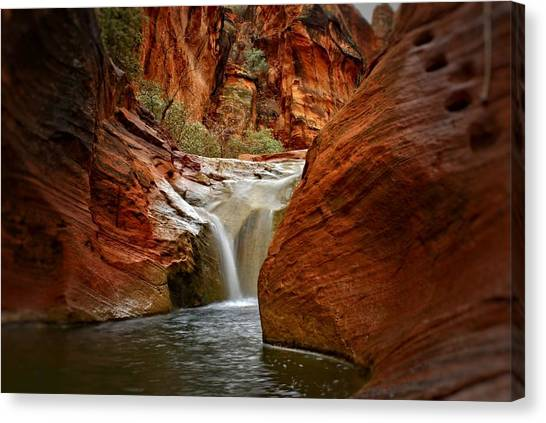 Red Cliffs Waterfall Canvas Print