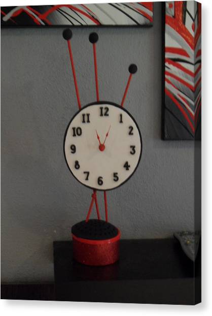 Red Clock Canvas Print