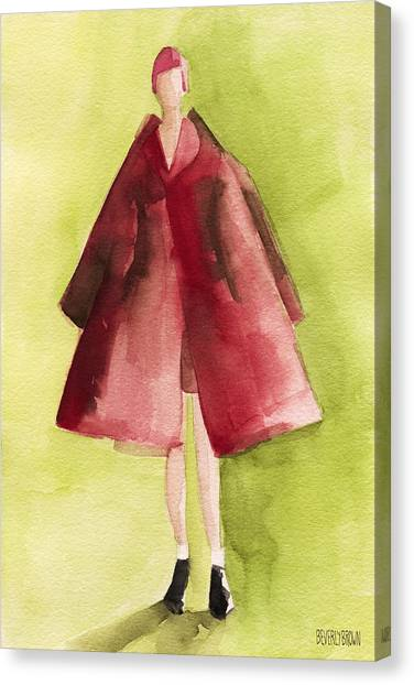 Limes Canvas Print - Red Coat - Watercolor Fashion Illustration by Beverly Brown Prints