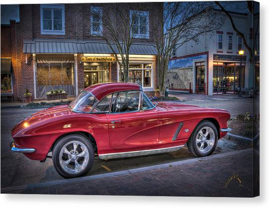 Red Corvette Canvas Print by Williams-Cairns Photography LLC