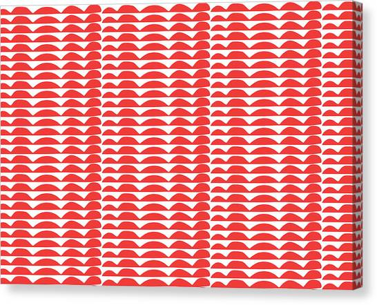 Waving Canvas Print - Red Cut Outs- Abstract Pattern Art by Linda Woods