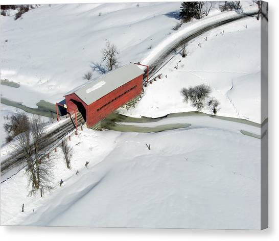 Rights Managed Images Canvas Print - Red Covered Bridge by Rob Huntley