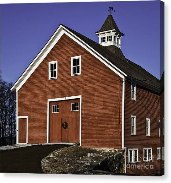 University Of Connecticut Canvas Print - Red Dairy Barn Univ Of Connecticut by Phil Cardamone