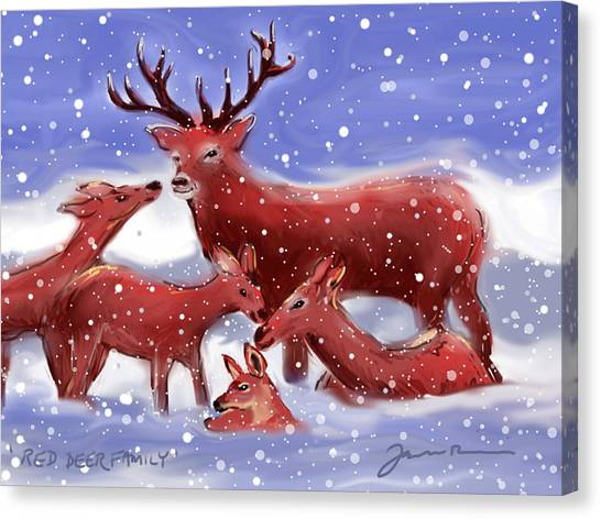 Red Deer Family Canvas Print