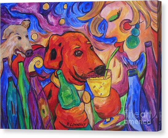 Red Dirk Dog And Rita Drink Canvas Print