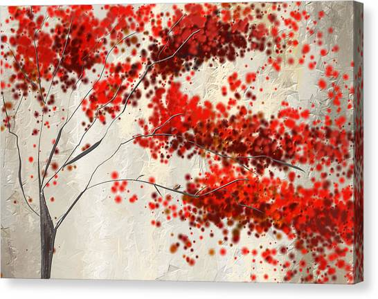 Maple Leaf Art Canvas Print - Red Divine- Autumn Impressionist by Lourry Legarde