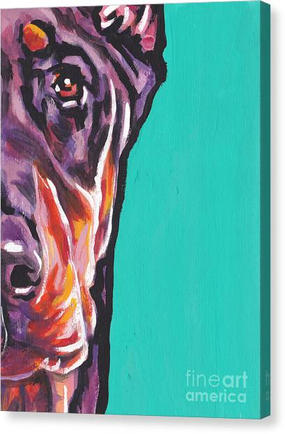 Doberman Pinschers Canvas Print - Red Dobie Man by Lea S