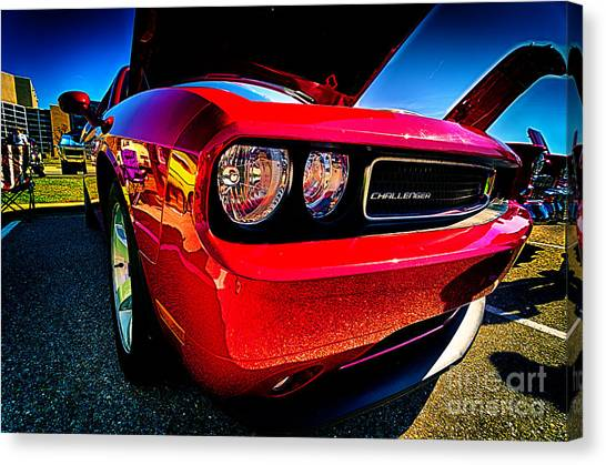 Red Dodge Challenger Vintage Muscle Car Canvas Print