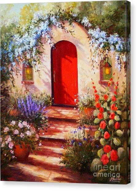 Red Door Canvas Print by Gail Salitui