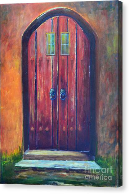 Gateway Arch Canvas Print - Red Door by Patricia Caldwell