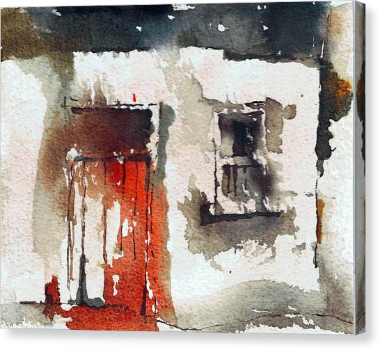 Dilapidation Canvas Print - Red Door by Val Byrne