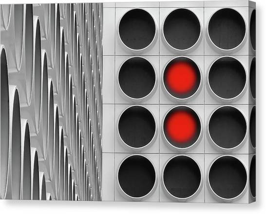 Grid Canvas Print - Red Dots by Henk Van Maastricht