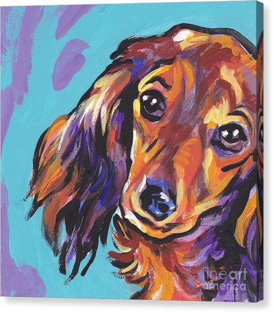 Dachshunds Canvas Print - Red Doxie Baby by Lea S