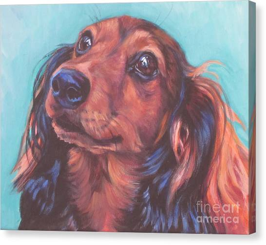 Dachshunds Canvas Print - Red Doxie by Lee Ann Shepard