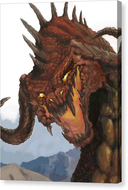 Dungeon Canvas Print - Red Dragon by Matt Kedzierski