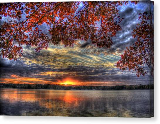 Good Bye Until Tomorrow Fall Leaves Sunset Lake Oconee Georgia Canvas Print