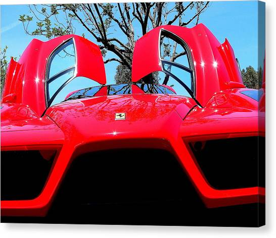 Canvas Print featuring the photograph Red Ferrari Doors Open And Front Air Intakes by Jeff Lowe