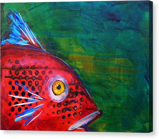 Catfish Canvas Print - Red Fish by Nancy Merkle