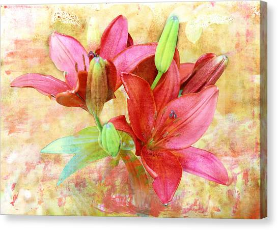 Canvas Print featuring the digital art Red Flower 3 by Helene U Taylor