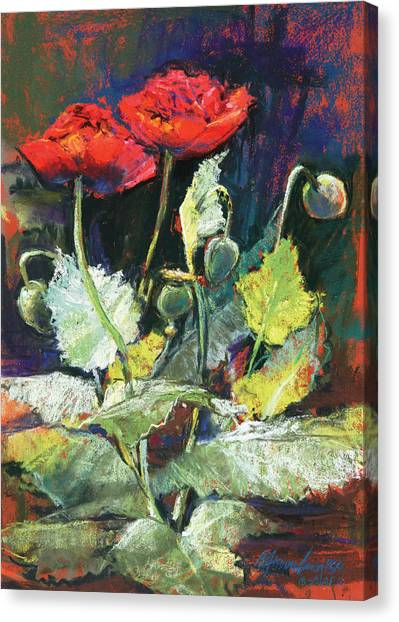 Red Flowers Canvas Print by Beverly Amundson