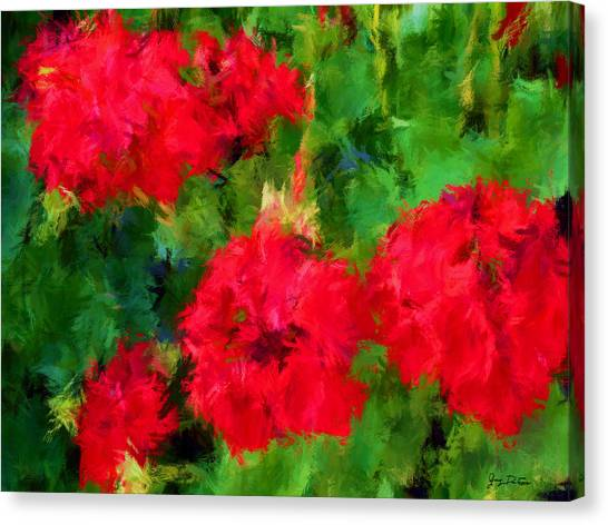 Red Flowers Impressionism Canvas Print